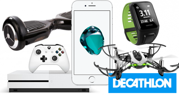 Lots : iPhone 7, Xbox One S, Hoverboard, Montre Tomtom Runner 3, Drone Parrot Mambo, 3 bons d'achat 15 euros Decathlon